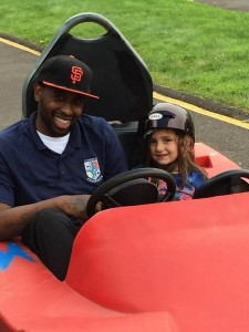 Papa Johnson and Ava in go kart